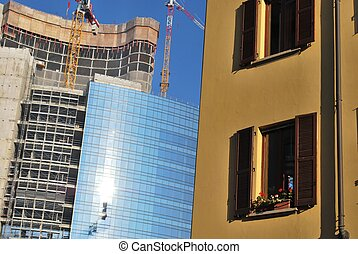 Old and new architecture contrast, Garibaldi district,...