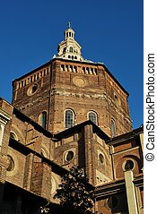 Cathedral, Pavia - Pavia cathedral on blue sky, Lombardy,...
