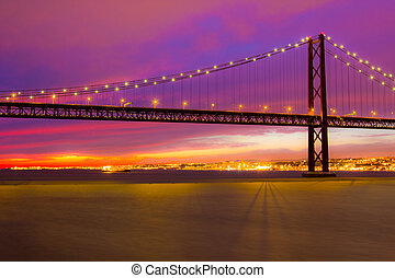 The 25 de Abril Bridge in Lisbon - The 25 de Abril Bridge -...