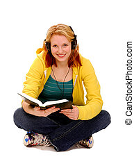 Happy Female Student Reading - Happy Female Student Studying...