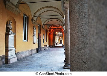Pavia university - Courtyard and arcade in famous historical...