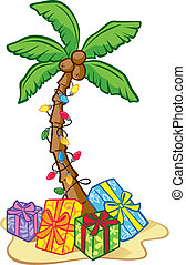 Hawaiian Christmas Tree - Illustration of a Coconut Tree...