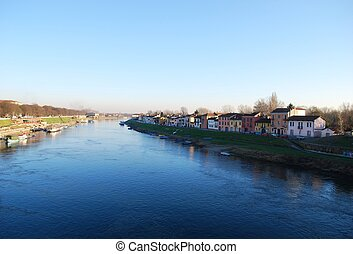 Ticino river in Pavia - Panoramic view of Ticino river in...