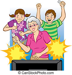 Grandma Playing Video Games - Vector illustration of a...