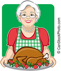 Holiday Turkey - Vector Illustration of a grandmother...