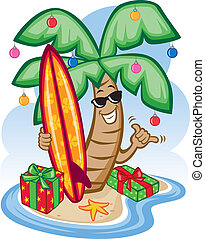 Tropical Christmas - Vector Illustration of a tropical palm...