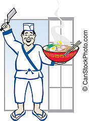 Ramen Chef - Vector Illustration of and Asian Chef with a...