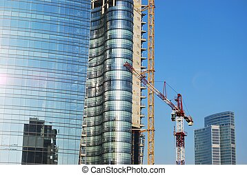 Skyscrapers construction - Modern skyscrapers construction...