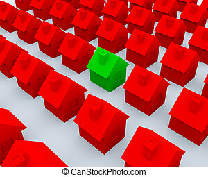 Red and green 3d houses on white plane