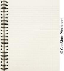 em branco, caderno, folha