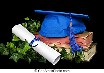 blue graduation cap - Blue graduation hat and diploma on...