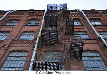 metal fire escape at old factory