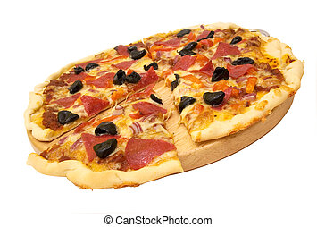 pizza - sliced pizza isolated