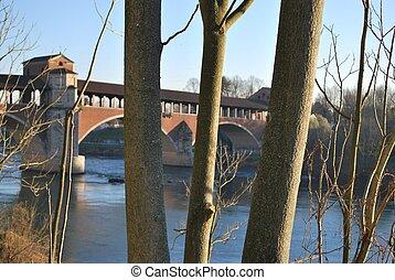 Covered bridge on Ticino river