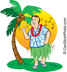 Tourist Hula Dance - Illustration of a tourist having fun...