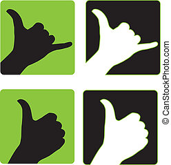 Shaka and Thumbs Up Hand Gesture - Illustration of positive...