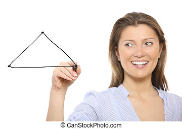 Nice woman drawing a triangle - A picture of a nice woman...