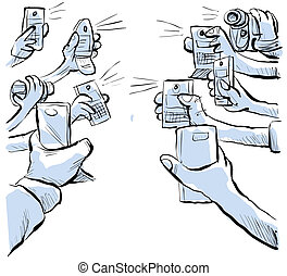 Camera Phone Showdown - Two groups of camera phones face...