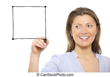 Nice woman drawing a square