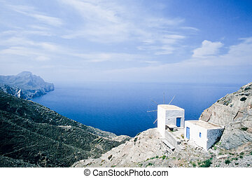 Traditional Windmill on Karpathos Island, Greece - Old...