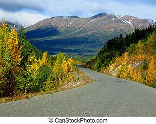 Cassair Highway, BC, Canada - Cassair Highway in fall,...