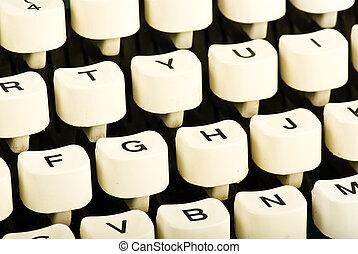teclas, Máquina escrever, closeup