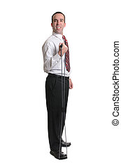 Resistance Band Exercise - Full body view of a man wearing a...