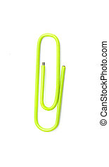 green paperclip isolated