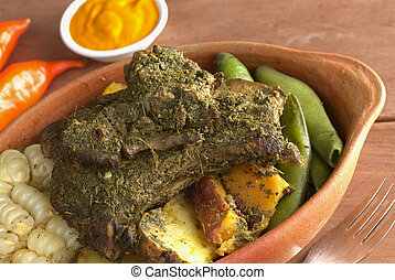 Peruvian Dish Called Pachamanca - Traditional Peruvian dish...