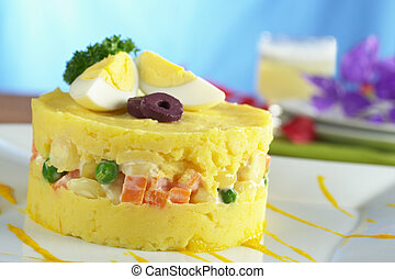 Peruvian Dish Called Causa - Traditional Peruvian dish...