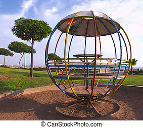 Round Jungle Gym in a Park