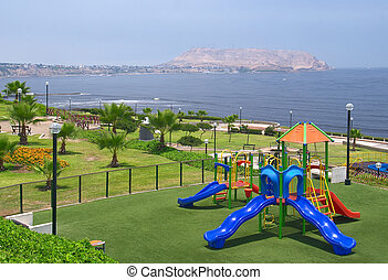 Playground in Lima, Peru - Playground on a sunny day in a...