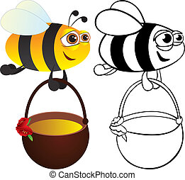 Bee with honey. Color and contour