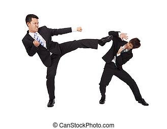 Asiático, homem negócios, luta, kung, fu