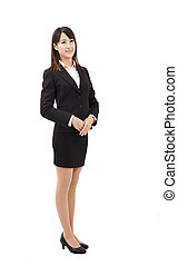Young asian business woman standing and smiling