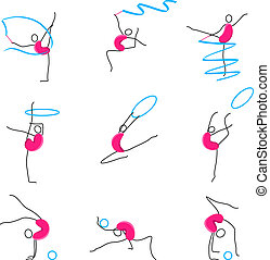 Poses of Gymnastic - illustration of set of different poses...