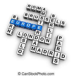 crossword europe - europe blue-white cubes crossword series...