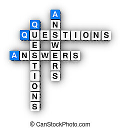 Question and Answers blue-white cubes crossword series