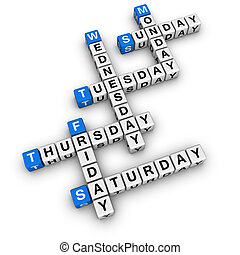weekdays crossword blue-white cubes crossword series