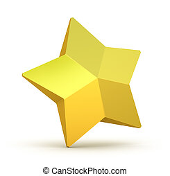 Gold star on white