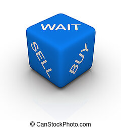 buy, sell, wait blue cubes words series