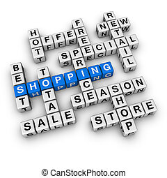 shopping blue-white cubes crossword series