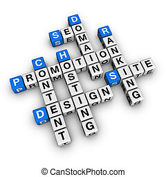 website promotion blue-white cubes crossword series