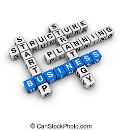 startup business blue-white cubes crossword series