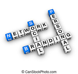 Personal Branding Social Network 3D crossword series