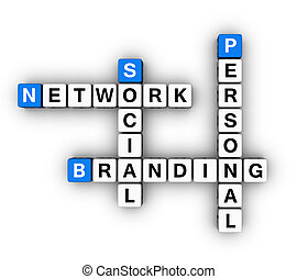 Personal Branding Social Network (blue-white cubes crossword...