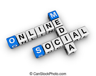 social media - on-line social media blue-white cubes...