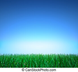 Landscape: green grass, clear sky - Landscape: green grass,...