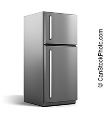 Modern refrigerator isolated on white my own design