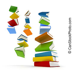 Colored books with clear cover falling in pile isolated on...